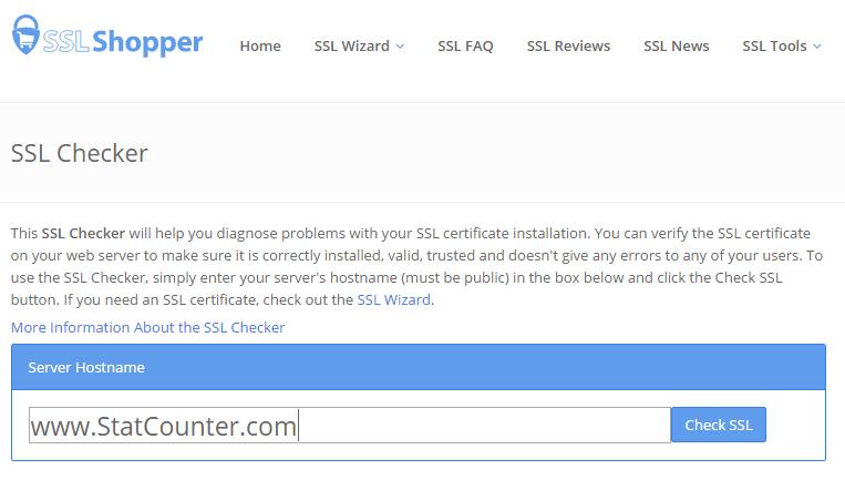 SSL Certificate Checker | StatCounter