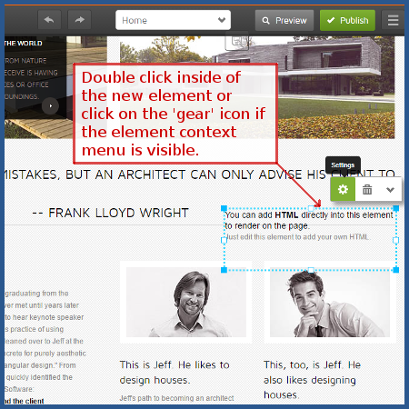 GoDaddy - double click new HTML element