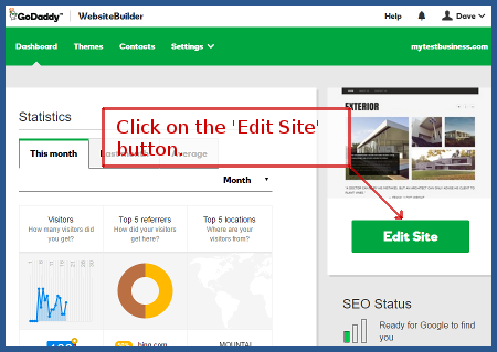 GoDaddy - Click the 'Edit Site' button