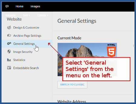 photoshelter.com - Select 'General Settings'