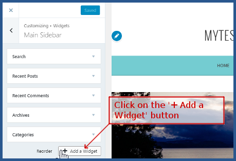 wordpress.com - Click '+ Add a widget'
