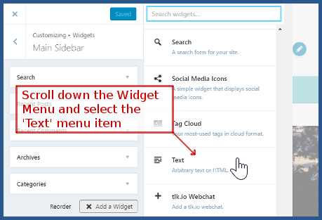 wordpress.com - aelect the 'Text' option