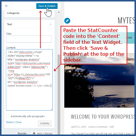 wordpress.com - Paste StatCounter code and click Save & Publish